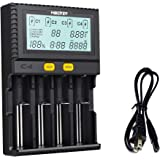 Miboxer 18650 Smart Battery Charger Universal Intelligent 4 Slot Automatic LCD Display for Li-ion LiFePO4 Ni-MH Ni-Cd AA AAA C 26650 18350 17670 18700 21700 20700 RCR123 Fire Prevention Material
