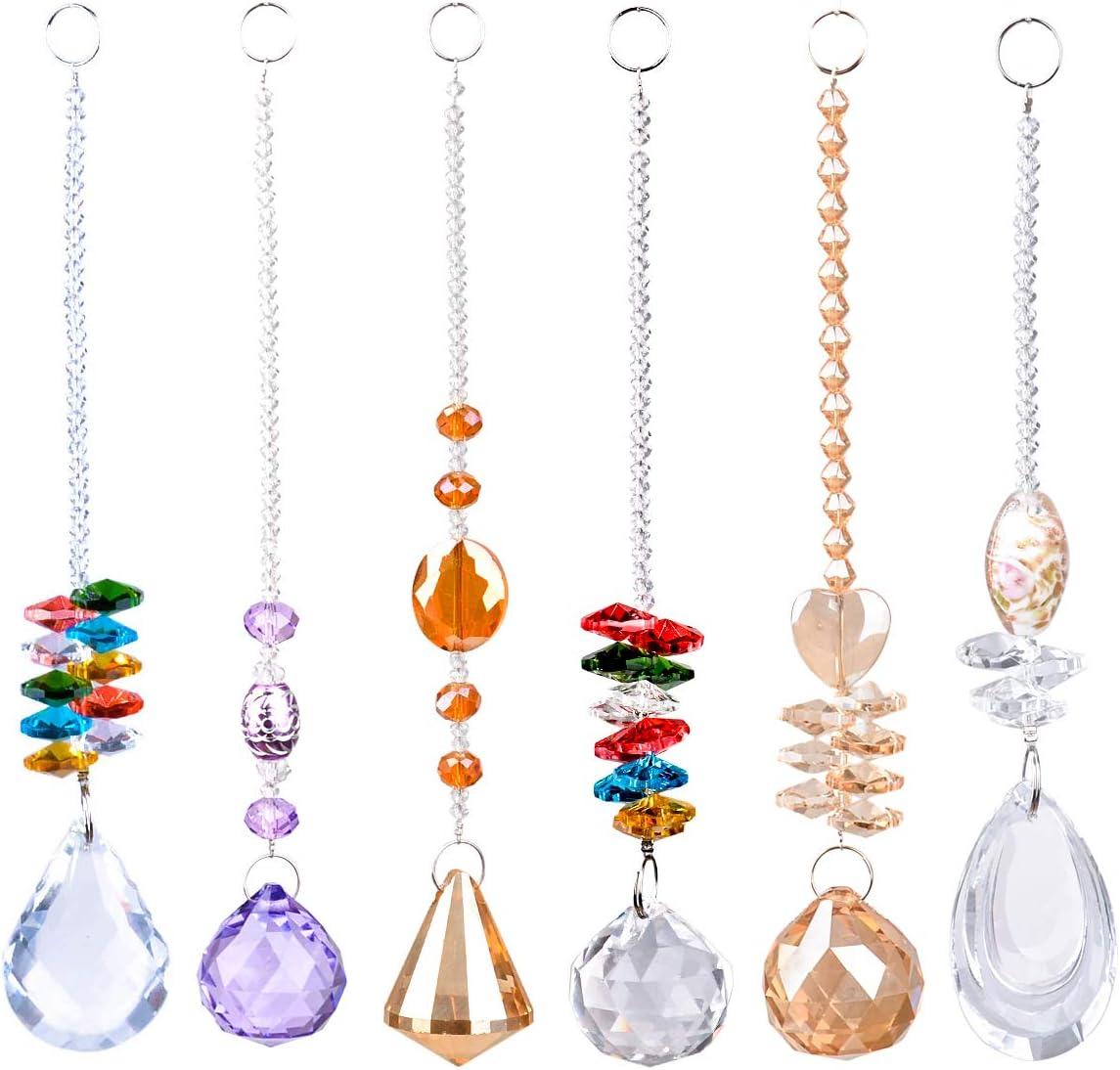 Elegante candelabro Suncatcher, bolas de cristal brillantes, prisma de arcoíris para el hogar, oficina, jardín, decoración para colgar en ventanas, octogonal, juego de 6 en forma de lágrima