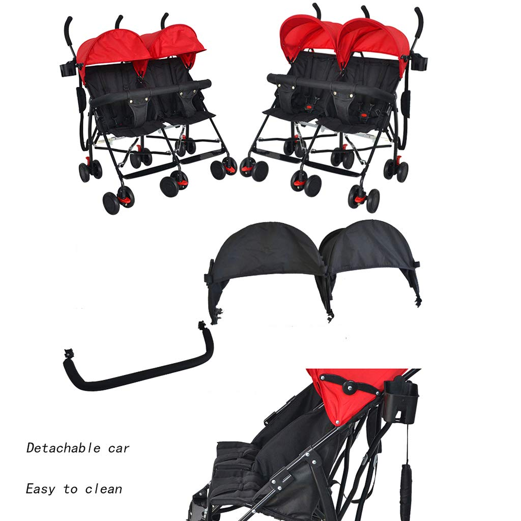 OCYE Double Stroller, Double Stand Stroller, Lightweight Folding Three-Speed Adjustable Awning Detachable Five-Point seat Belt Double Cup Holder by OCYE (Image #5)