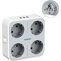 TESSAN USB Stekker, 4 Stopcontacten(3600W) en 3 USB (3A), 7 in 1 Stekkeradapter met Adapter Stekkers USB Stekker, USB…