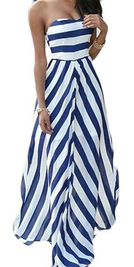 Big Tang Womens Vogue Stripe Strapless Empire Waist Flowy Party Prom Dress Blue XS