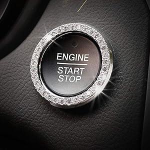 Car Decor Crystal Rhinestone Auto Engine Start Stop Key & Knobs Decoration Crystal Interior Ring Decal Fit Honda Civic Clarity Accord Odyssey Fit HR-V Pilot Ridgeline Accessories