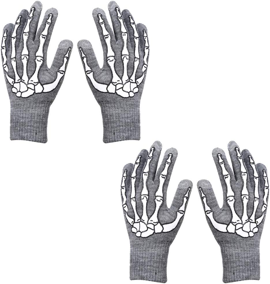 2 Pairs Unisex Skeleton Gloves Winter Warm Touch Screen Full Finger Gloves for Adults Halloween Costume Cosplay Accessories Grey