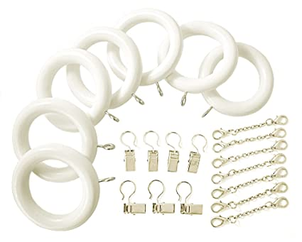 White Wood Curtain Rod Rings With Pinch A Pleat Clips And Ripple Chains 7