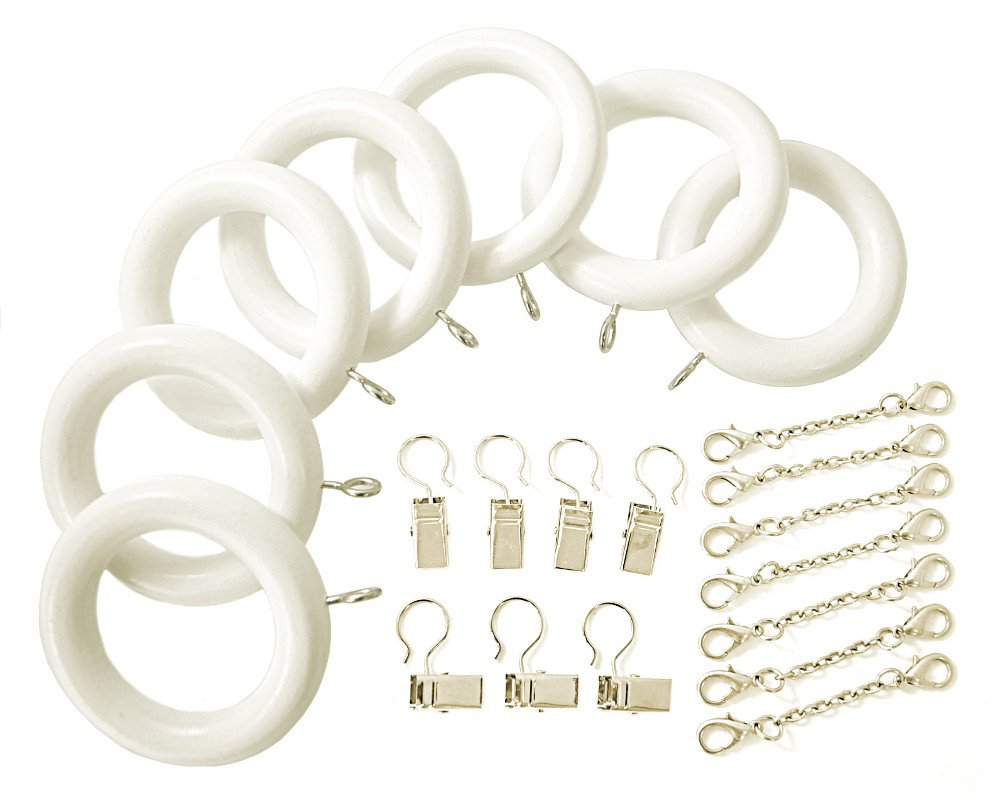 White Wood Curtain Rod Rings with Pinch a Pleat Clips and Ripple Pleat Chains-7 Pack (For a 1 3/8 Pole)