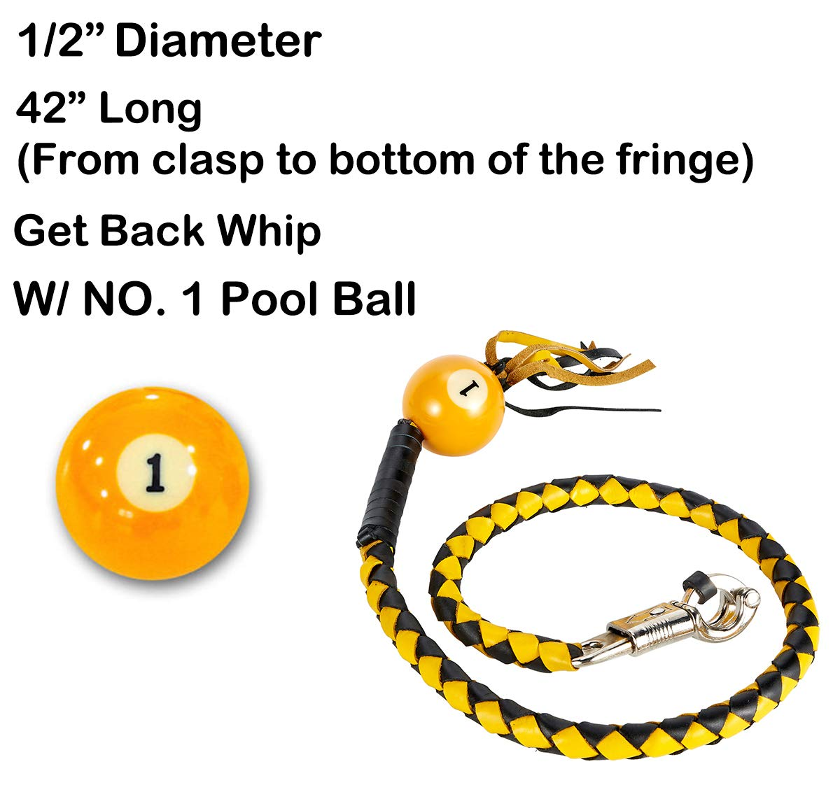 """1 Pool Ball DMD Trading 42 Long 1//2/"""" Diameter Yellow and Black Motorcycle Get Back Whip with NO"""