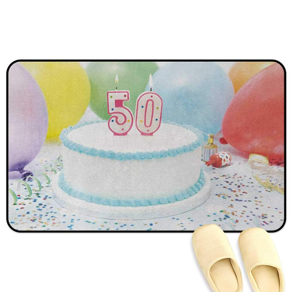 homecoco 50th Birthday Bathroom Mats Rubber Non Slip White Sweet Tasty Cake on The Table with Colorful Balloons Confetti Party Multicolor Kitchen Decor mats W31 x L47 INCH