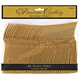 """Amscan Reusable Party Premium Heavy Weight Forks Cutlery (48 Piece), Gold, 9.7 x 10.3"""""""