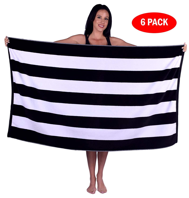 Turquoise Textile 100% Turkish Cotton Eco-Friendly Cabana Stripe Pool Beach Towel, 35x60 Inch (6 Pack, Black)