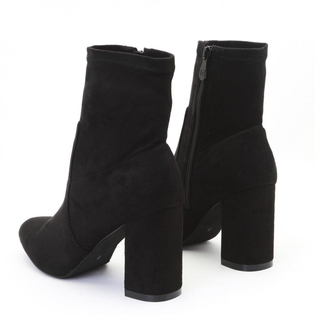 877bc89000607d Amazon.com   Public Desire Womens Raya Pointed Toe Ankle Boots Sock Fit  Block Heel Shoes Black Faux Suede UK 8 / EU 41 / US 10   Shoes