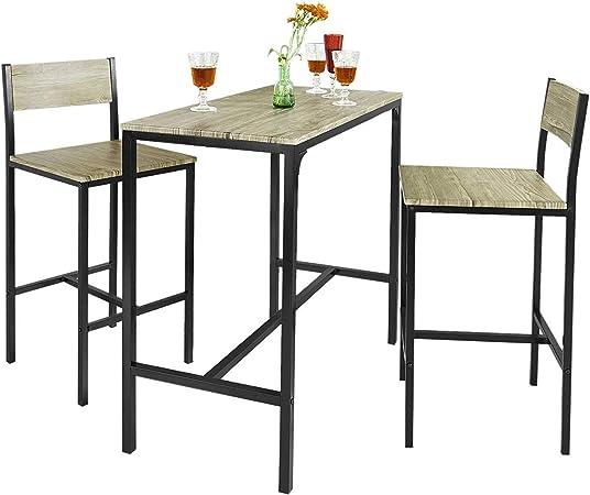 LYN&xxx Bar Set - 1 Barra de Mesa y 2 taburetes, la Cocina casera Restaurante Bar Conjunto de Muebles de Juego de Comedor: Amazon.es: Hogar