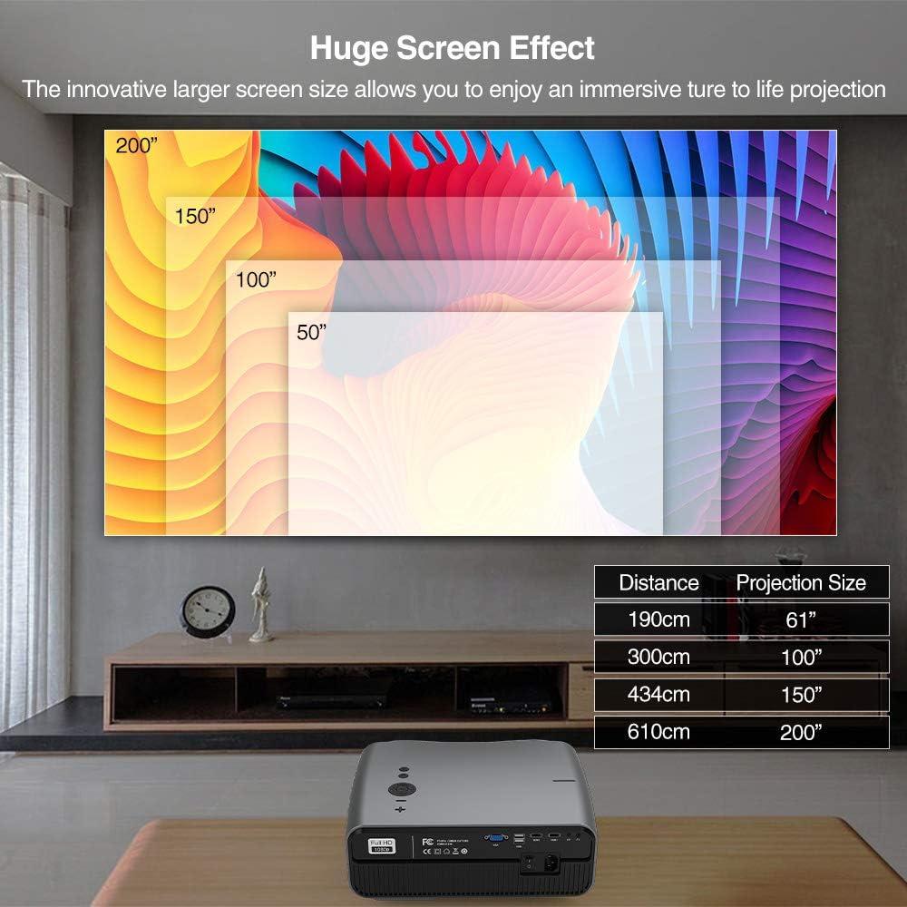 Nativo 1080P Proyector, 5500 Lumen Full HD LED Proyector con Android Inalámbrica Bluetooth WiFi, Compatible con TV Stick, iPhone, computadora portátil, para oficina de cine al aire libre interior PPT: Amazon.es: Electrónica