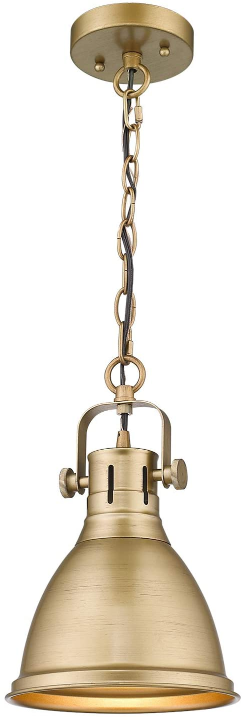 Emliviar 1-Light Farmhouse Pendant Light, Industrial Metal Hanging Light Fixture 8 inch, Antique Gold Finish, 4054M AG