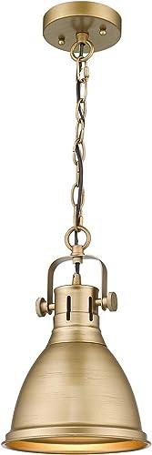 Emliviar 1-Light Farmhouse Pendant Light, Industrial Metal Hanging Light Fixture 8 inch, Antique Gold Finish, 4054M AG