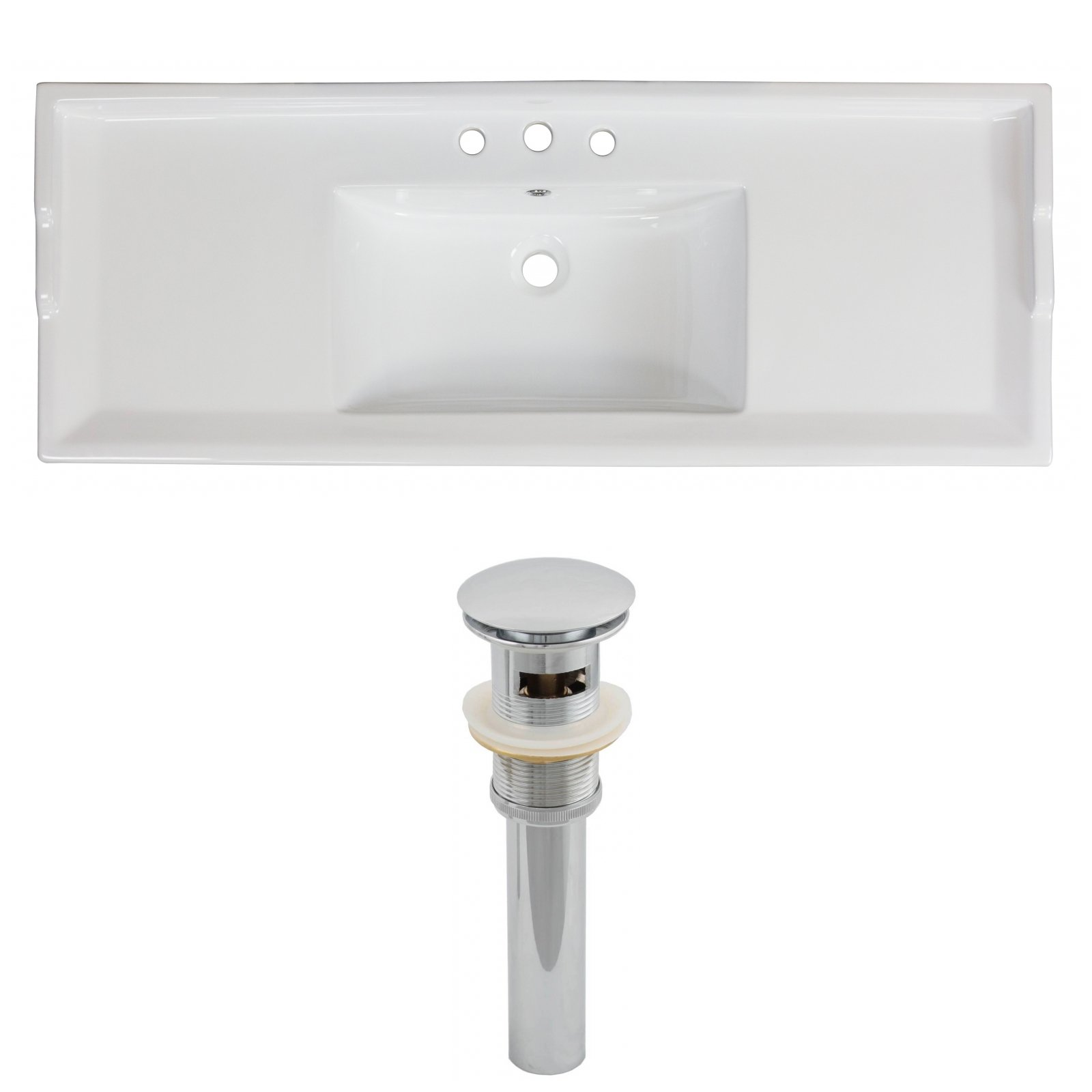 American Imaginations AI-15-595 Above Counter Square Vessel for Single Hole Faucet, 17.5-Inch x 17.5-Inch, White