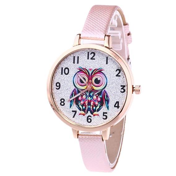 Dxlta Encantador del Búho Reloj de Pulsera de Cuarzo PU Casual Relojes Mujer Regalos