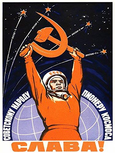 Digital Fusion Prints Soviet Space Program Propaganda Poster Yuri Gagarin 22quotx30quot Unframed
