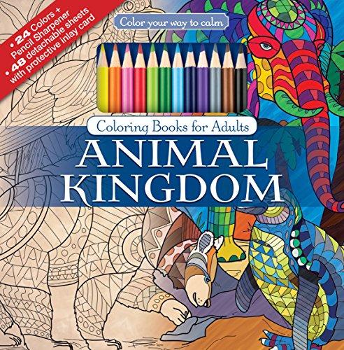 Animal-Kingdom-Adult-Coloring-Book-Set-With-24-Colored-Pencils-And-Pencil-Sharpener-Included-Color-Your-Way-To-Calm
