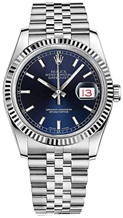 Amazon Com Rolex Datejust 36 Blue Dial With Index Hour Markers