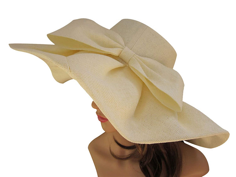 Beige Huge Linen Sun Hat Women Kentucky Derby Wide Brim Sun Hat Wedding Church Beach Hats Women Floppy Ladies Hat