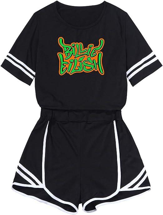 Luckinwhale Billie Eilish Crop Top T Shirts Und Shorts Bekleidungsets Fur Madchen Und Damen Amazon De Bekleidung