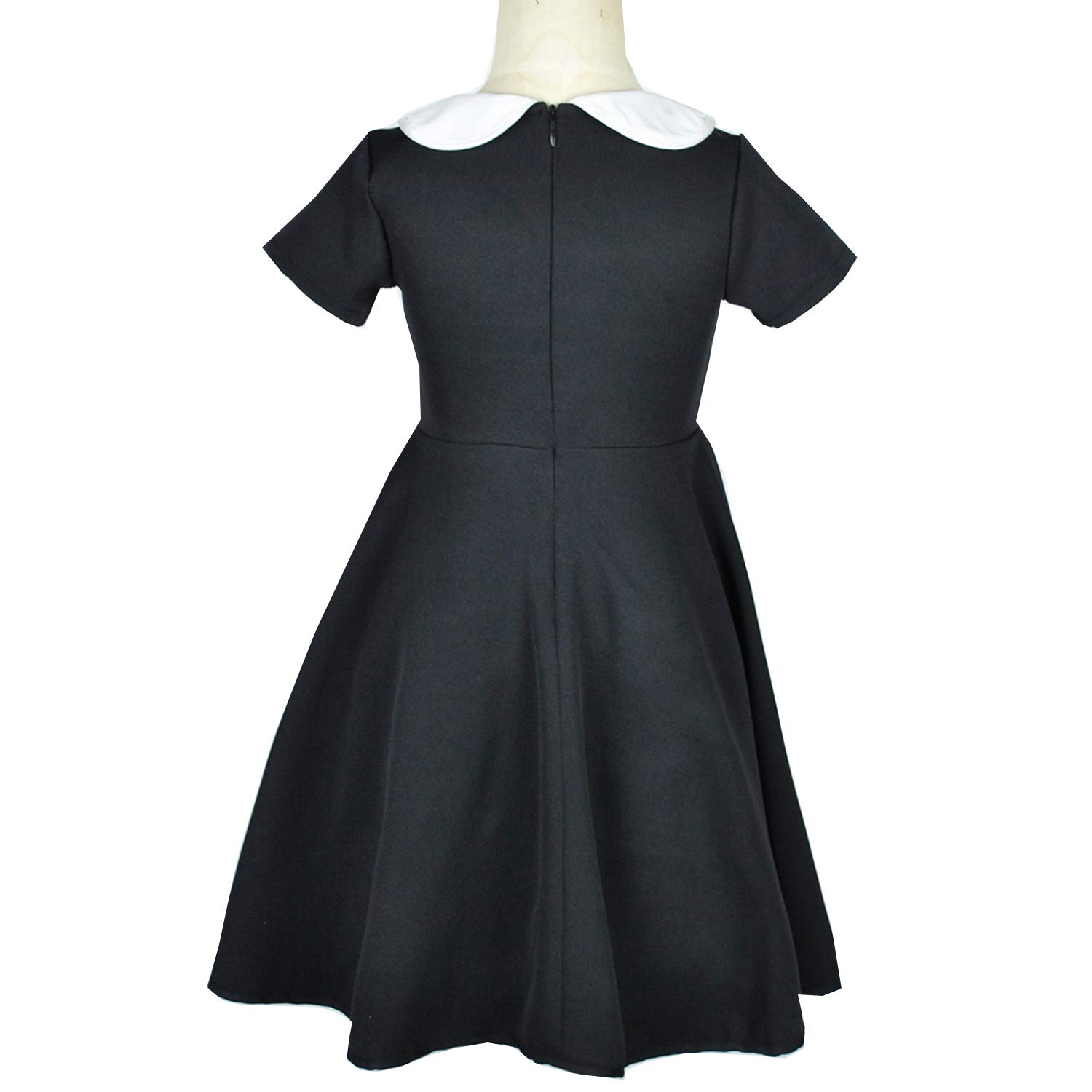 Girls Short Sleeve Casual Vintage Peter Pan Collar Fit and Flare Skater Party Dress 2-12 Years