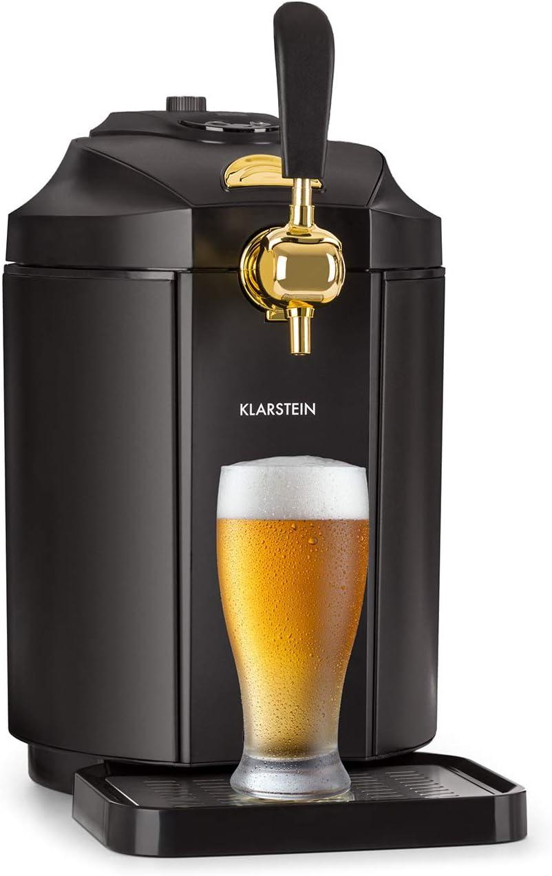 Black//Gold LED Display 5 Litre Kegs 6 Cooling Temperatres Stainless Steel Pressurised CO2 Cartridge System Integrated Thermoelectic Beer Cooler Klarstein Skal Beer Tap Dispenser
