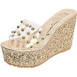 Chanclas Mujer Zapatillas de mujer Verano Transparente Plataforma Tacones altos Impermeable Sandalias de cuña Zapatos de mujer LMMVP