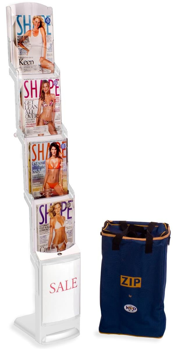 Displays2go 4 Pocket Tiered Magazine & Catalog Stand, Portable, Folding Design with Bag (VR4WHTRZ)