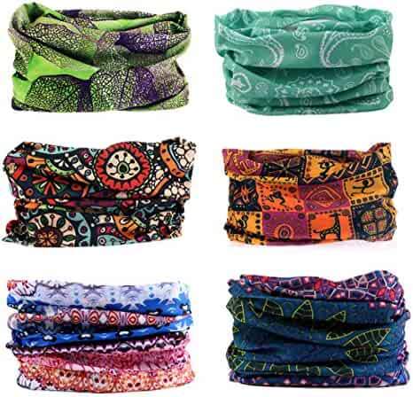 Toes Home 6PCS Outdoor Magic Headband Elastic Seamless Bandana Scarf UV Resistence Sport Headwear Boho Series for Yoga Hiking Riding Motorcycling