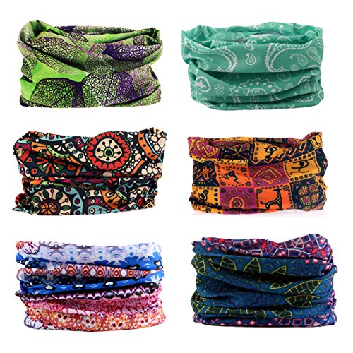 (Toes Home 6PCS Outdoor Magic Headband Elastic Seamless Bandana Scarf UV Resistence Sport Headwear Boho Series for Yoga Hiking Riding)