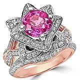 Smjewels 2.37 Ct Round Pink Sapphire Lotus Flower CZ Diamond Ring Bridal Set 14K Rose Gold Fn