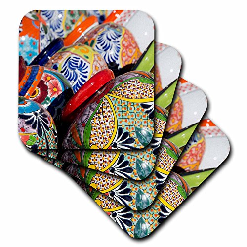 3dRose cst_208869_2 Arizona, Tucson, Tubac Traditional Hand-Painted Mexican Pottery Soft Coasters (Set of (Hand Painted Pottery)