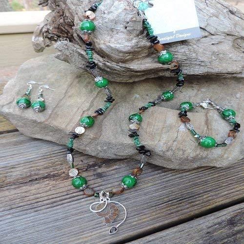 Handmade Jewelry Set - Fossil Ammonite W/Smoky Topaz Pendant Necklace, Bracelet & -