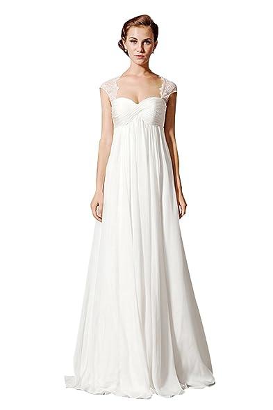 Dressdew Women\'s A-Line Lace Cap Sleeve Empire Waist Wedding dress ...