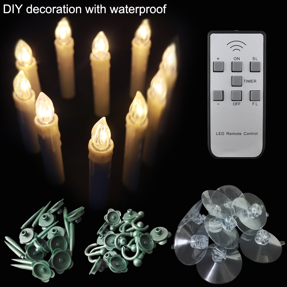 【Timer 10 Pcs】Indoor and Outdoor LED Window Flameless Taper Candles Flickering Votive Unscented Battery Operated Electric TeaLights with Remote for Gift Party Wedding Holiday Tree Garden by LAPROBING (Image #2)