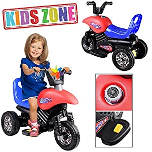 GC Global Direct 3 – Wheel 6V Battery Kids Ride Electric Motorcycle Color Opt (Red/ Blue seat)