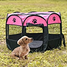 Dog Cat Playpen Folding Portable Pet Tent Indoor Outdoor Pet Playpens Puppy Tents Dog House (Rose Red)