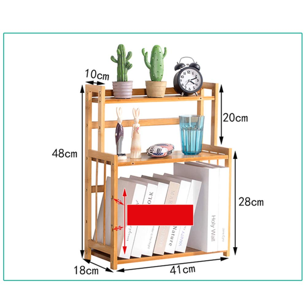 D 41x18x48cm(16x7x19inch) Desk Organiser Bookshelf, Simple Bookshelf, Multipurpose Storage Rack Shelf Desktop Shelves Easy Assembly for Office Bamboo Wood-n 32x19x21cm(13x7x8inch)