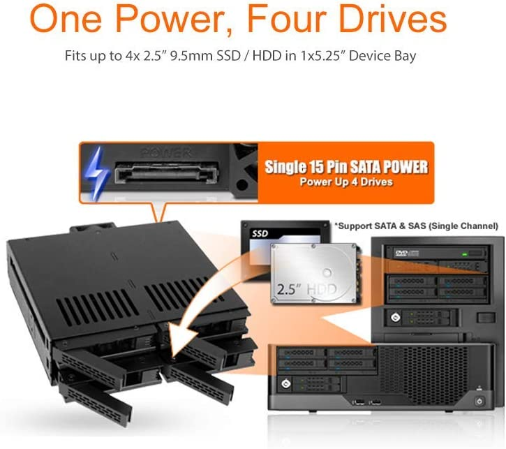 """ExpressCage MB322SP-B ICY DOCK 2 x 2.5/"""" SATA//SAS HDD//SSD to 5.25/"""" Hot Swap Mobile Rack Cage w// 3.5/"""" Drive//Device Bay"""