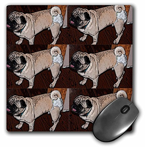 Price comparison product image 3Drose 8 X 8 X 0.25 Inches Mouse Pad Tan and White Pet Pug Walking Around in Diapers So Cute It Makes You Laugh Six Times (mp_49473_1)