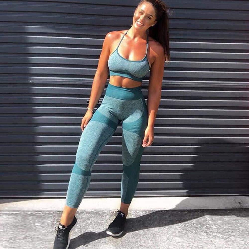 YANGCONG Yoga Fitness Bekleidung Fitness weiblich Yoga Set Farbe nahtlos Ensemble Frauen Sportswear Sexy Workout Gym Wear Laufbekleidung Sportanzug Trainingsanzug grün S