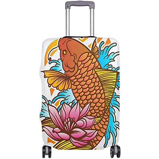 Tatuaje de pez koi japonés Tradicional con Ola y Flor Cubierta de ...