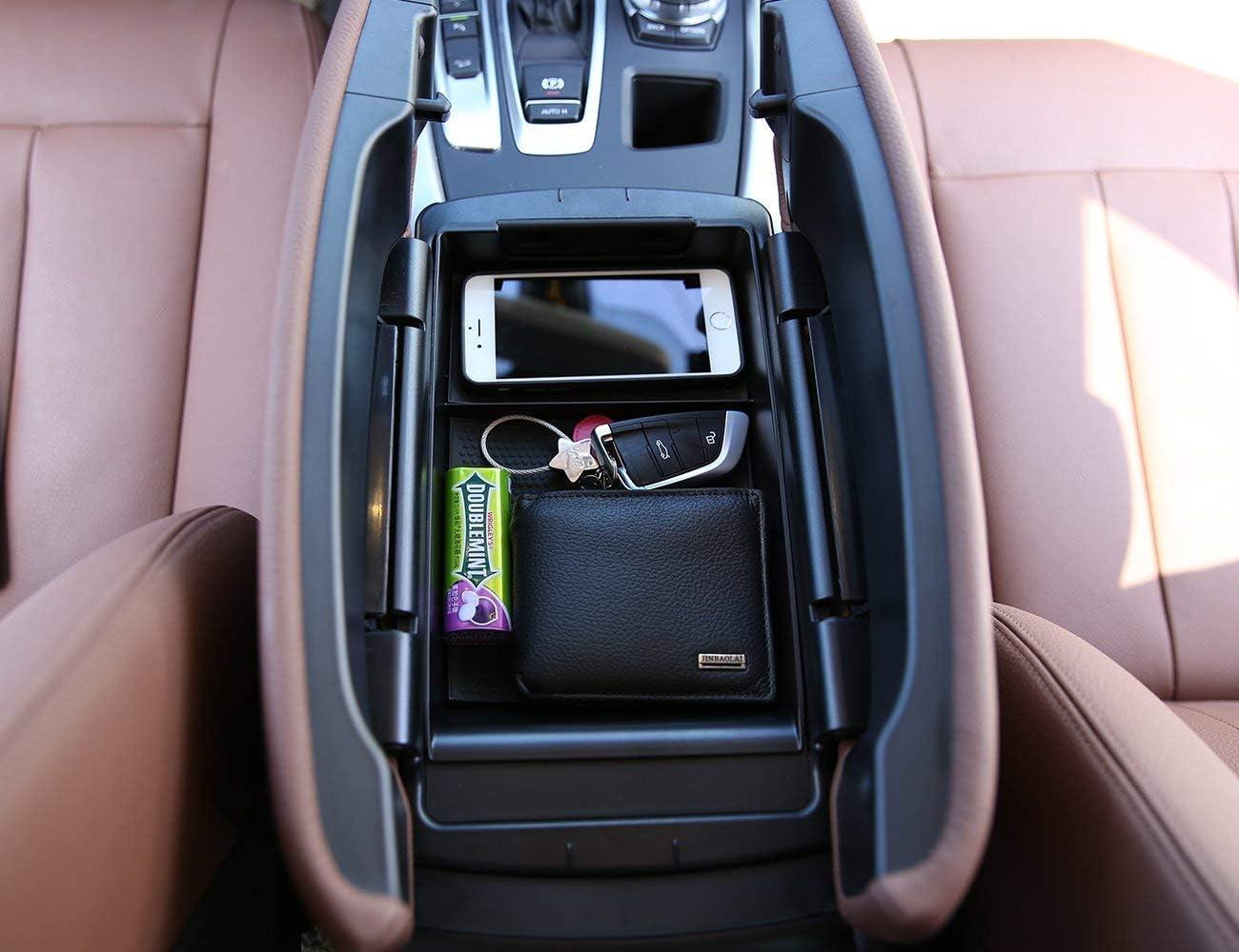 2017 Accoudoir bo/îte de Rangement AUTO Pro pour BMW X5 X 6 F15 F16 2014 bo/îte de Rangement pour t/él/éphone avec Tapis et Logo