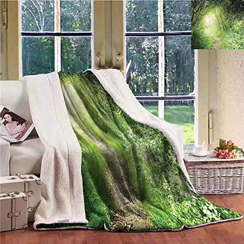 (Sunnyhome Baby Blanket Woodland Forest Narrow Path Daisy Washable Shaggy Fleece Blanket W59x47L)