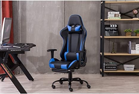 Executive Racing Gaming Computer Office Desk Chair Swivel Adjustable PU Leather