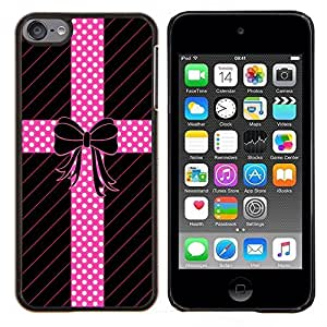 TECHCASE---Cubierta de la caja de protección para la piel dura ** Apple iPod Touch 6 6th Touch6 ** --Modelo de punto Pajarita Líneas regalo