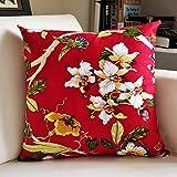 "MochoHome Decorative Cotton Floral Flower Square Throw Pillow Cover Case Pillowcase Cushion Sham - 18"" x 18"", Red"