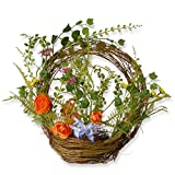 National Tree 16 Inch Spring Semi Ring Basket with Mixed Flowers (RAS-150316-1)