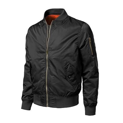 4940d4b10 Bomber Jacket,Han Shi Men Fashion Casual Stand Collar Zipper Cotton Solid  Slim Outwear